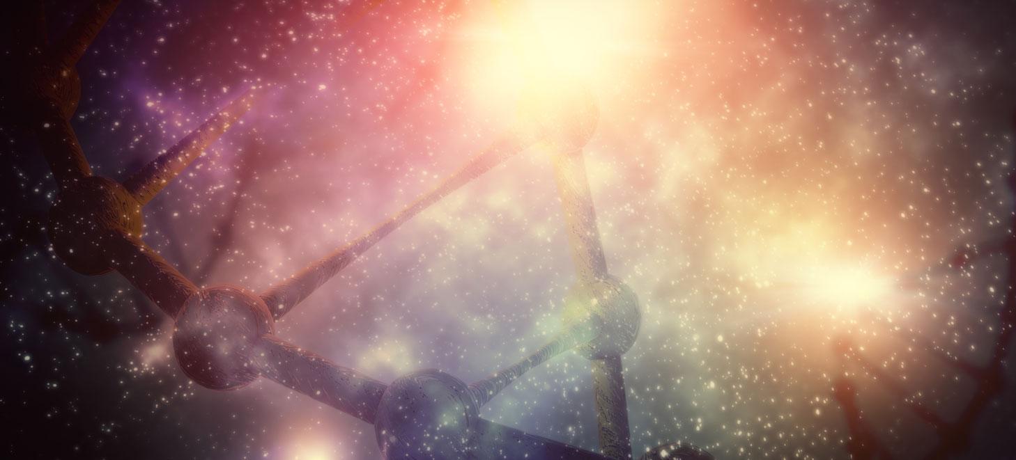 Buntes Bild des Universums, in dem DNA-artige Strukturen zu sehen sind