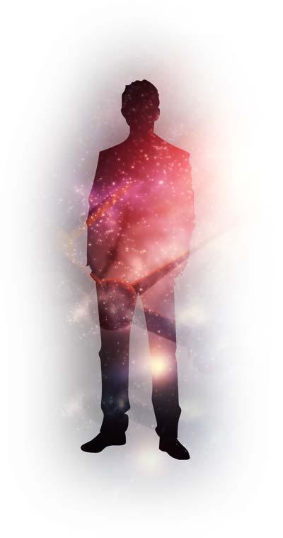 Silhouette eines Menschen verschmilzt mit dem Universum